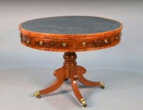 George III Style Mahogany Drum Table