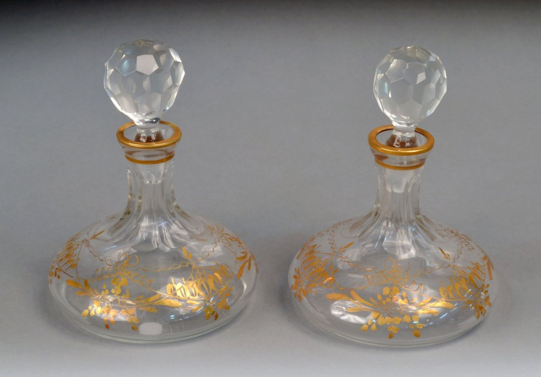 376: Pair of French Cut Glass Stoppered Bottles