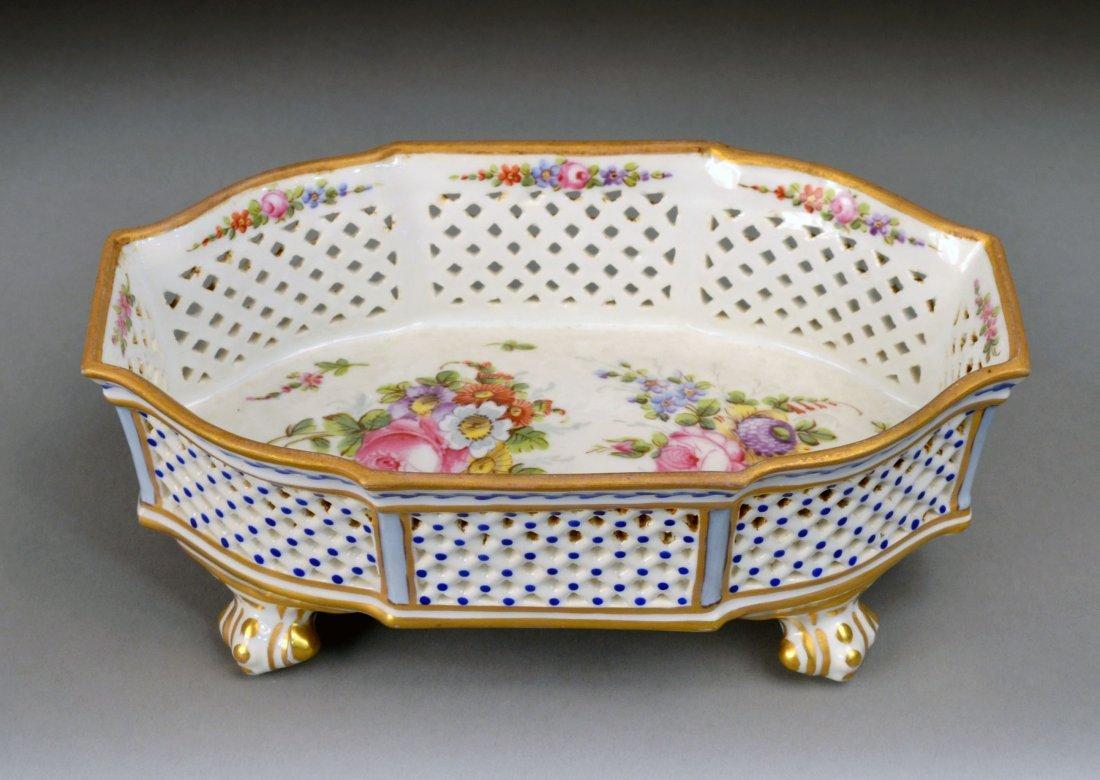 380: Sevres Porcelain Footed Basket