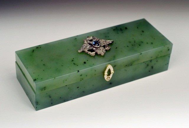 389: Russian Jewelled Nephrite Box