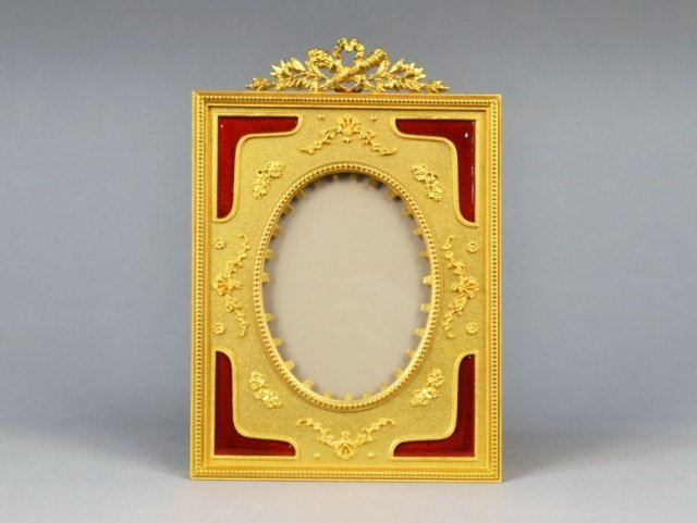390: French Fabrege Style Bronze Picture Frame