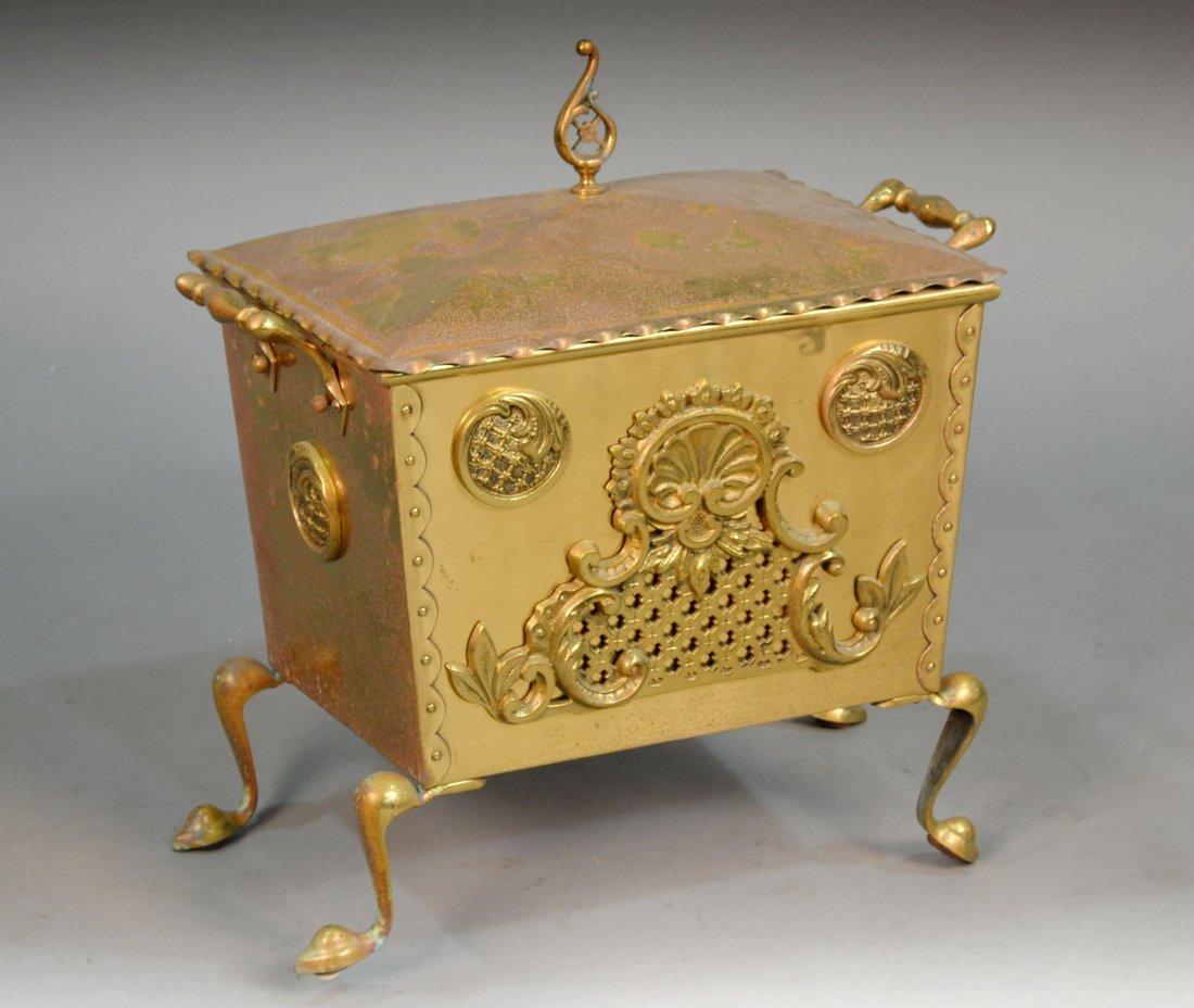 397: Victorian Style Brass Coal Bin