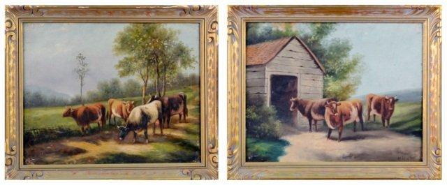 17: W. Benson, Two Oils on Canvas