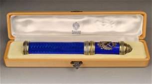 114 Faberge Diamond Silver and Enamel Cigar Case