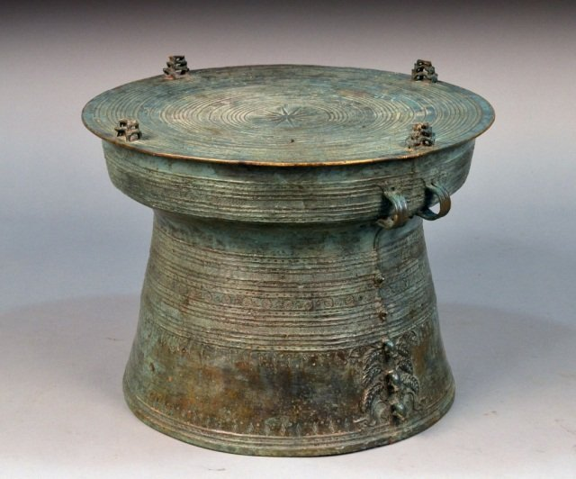 289: Patinated Bronze African Drum Table