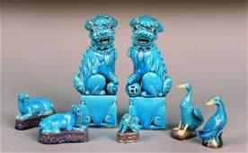 Group of Asian Blue Glazed Figures