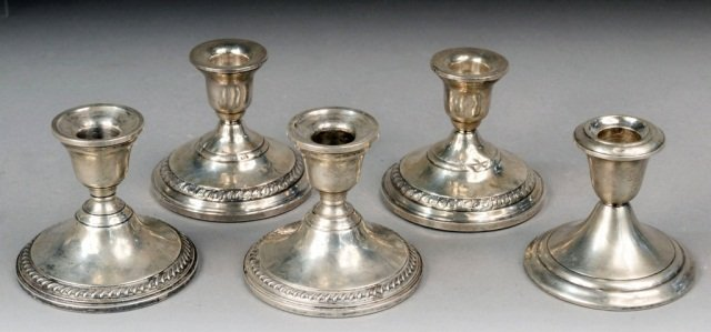 Five Sterling Silver Candlesticks