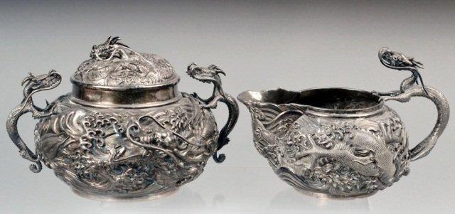 Japanese Silver Covered Sugar & Milk Jug