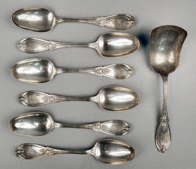 Six Tiffany Sterling Grecian Spoons
