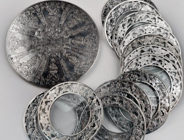 Twelve Webster Sterling Silver and Glass Coasters
