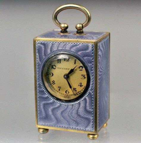 Silver and Enamel Miniature Clock