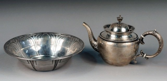 Sterling Silver Bowl and Teapot