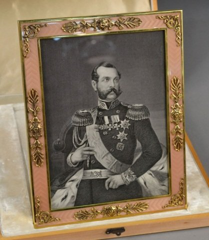After Fabergé Silver and Enamel Frame
