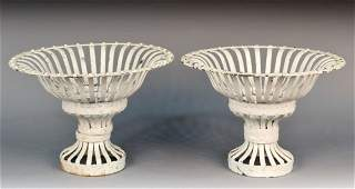 Pair of White Painted Metal Garden Urns