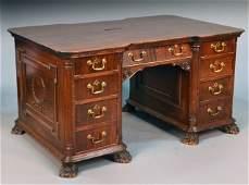 George III Style Mahogany Double Pedestal Desk