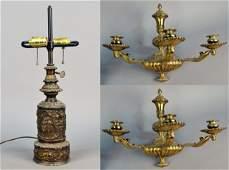 Pair of Brass Three Light Sconces