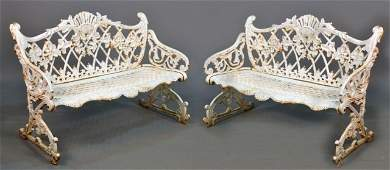 Pair of Victorian Cast Iron Garden Benches