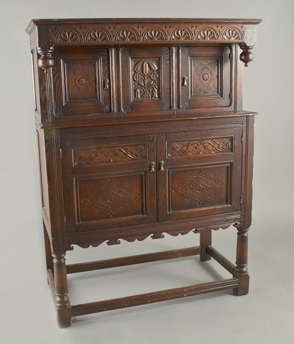 Jacobean Style Carved Oak Court Cupboard