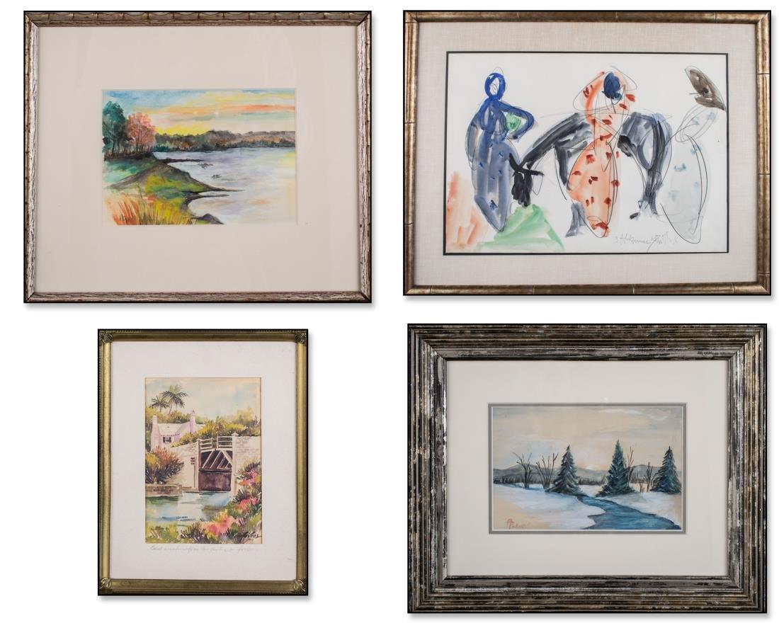 Four Watercolors (American School, 20th Century)