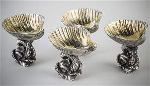 Set of Four Russian Silver Master Salts