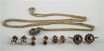 Four Pairs of Earrings and a Pendant