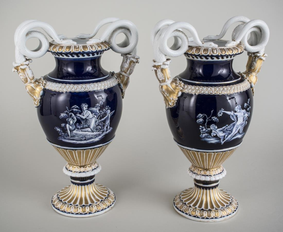 Pair of Meissen Porcelain Urns