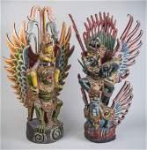 Two Balinese Carved Wood Garuda Figures