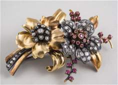 Gold, Diamond and Ruby Flower Pin *