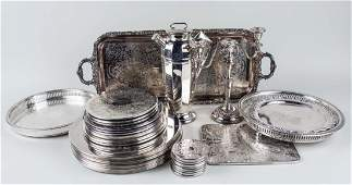 Group of Silver Plated Serving Trays