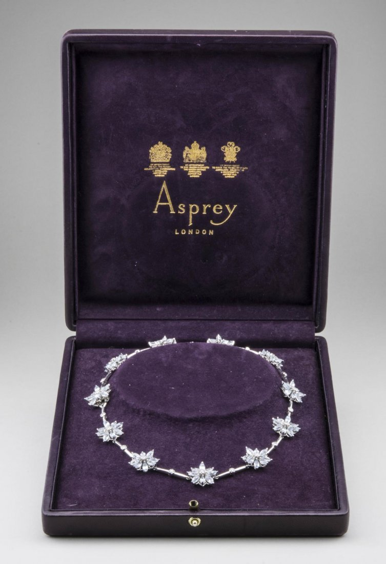 Asprey Blue Topaz & Diamond Daisy Flower Necklace