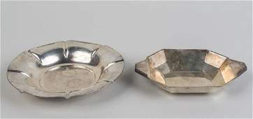 Two Continental Silver Trays