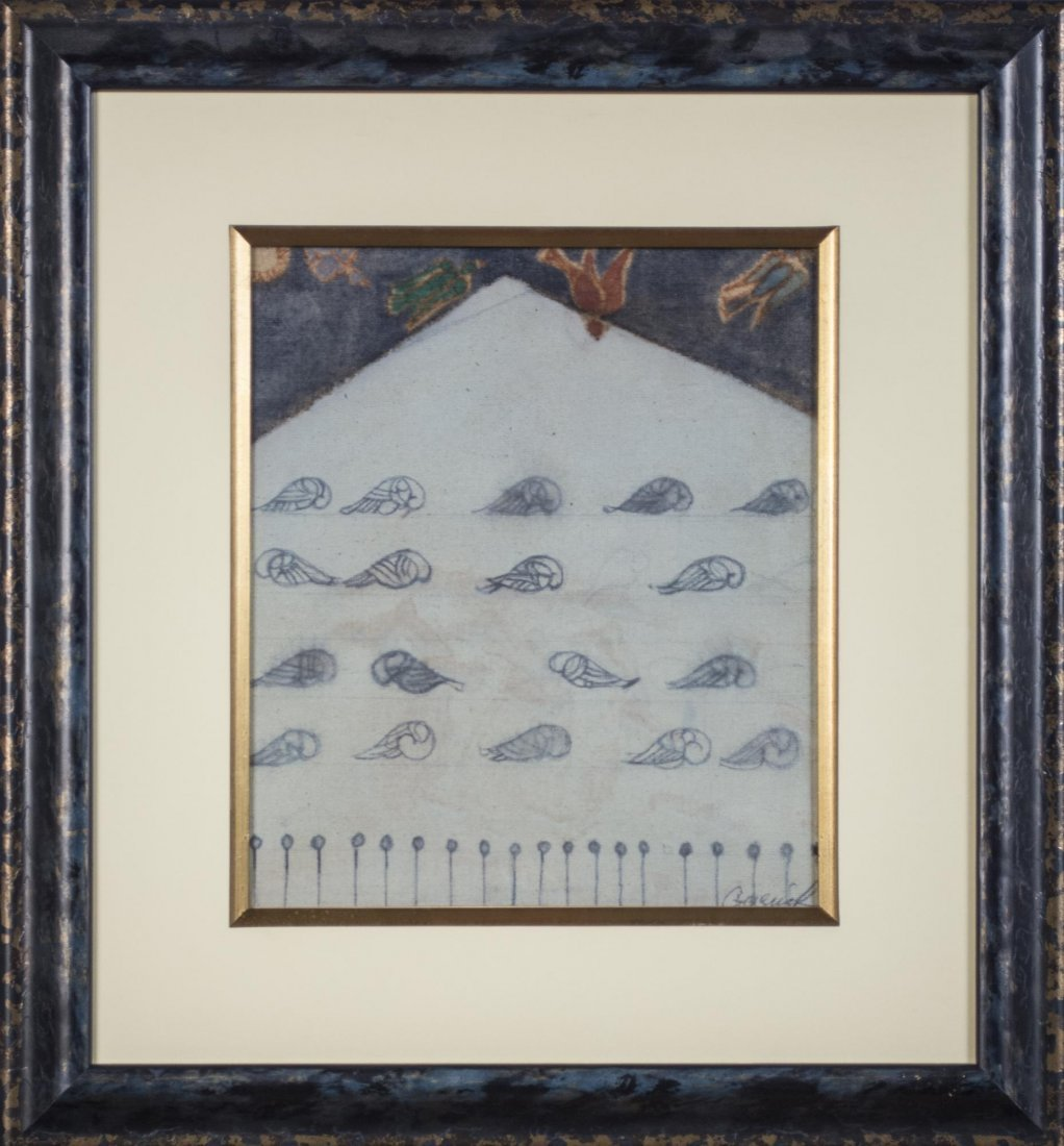 Mixed Media on Linen of Pigeons