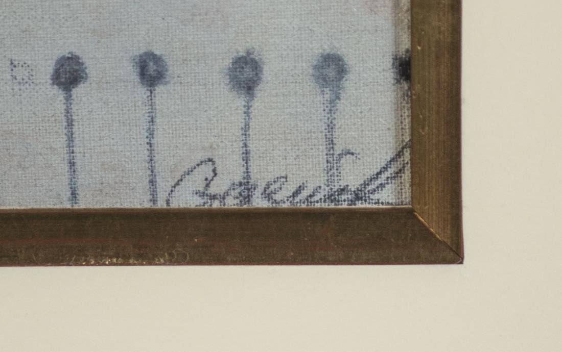 Mixed Media on Linen of Pigeons - 2