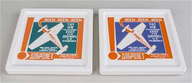 Two Russian Suprematist Style Coasters