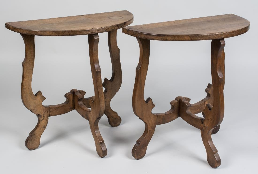 Pair of Walnut Continental Consoles