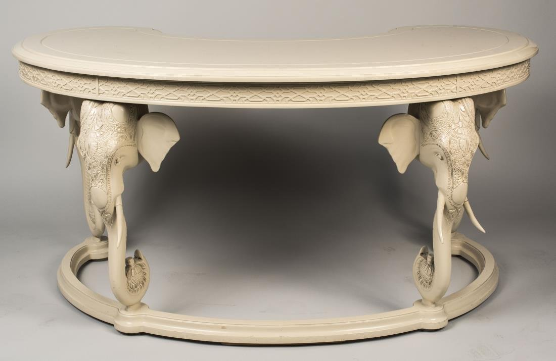White Lacquer Hunt Table - 2