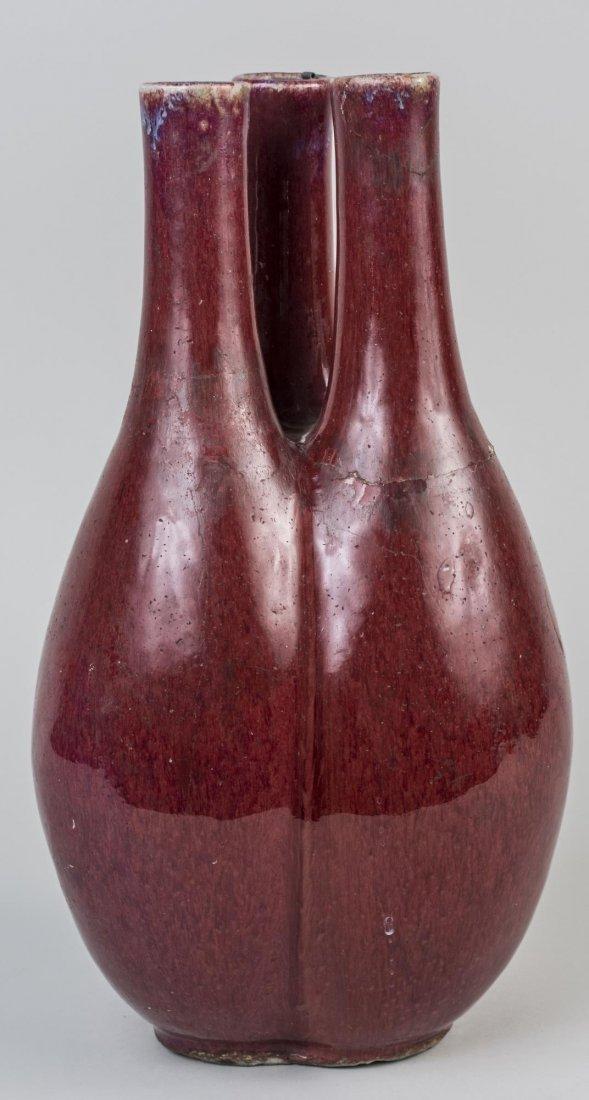 Chinese Porcelain Oxblood Triple Vase