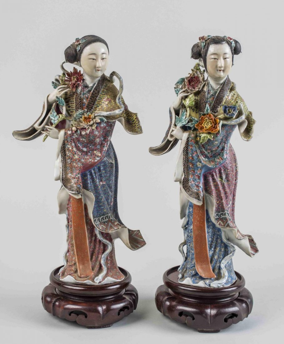 Pair of Chinese Porcelain Maiden Figures