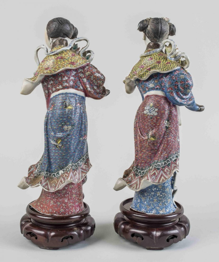 Pair of Chinese Porcelain Maiden Figures - 2