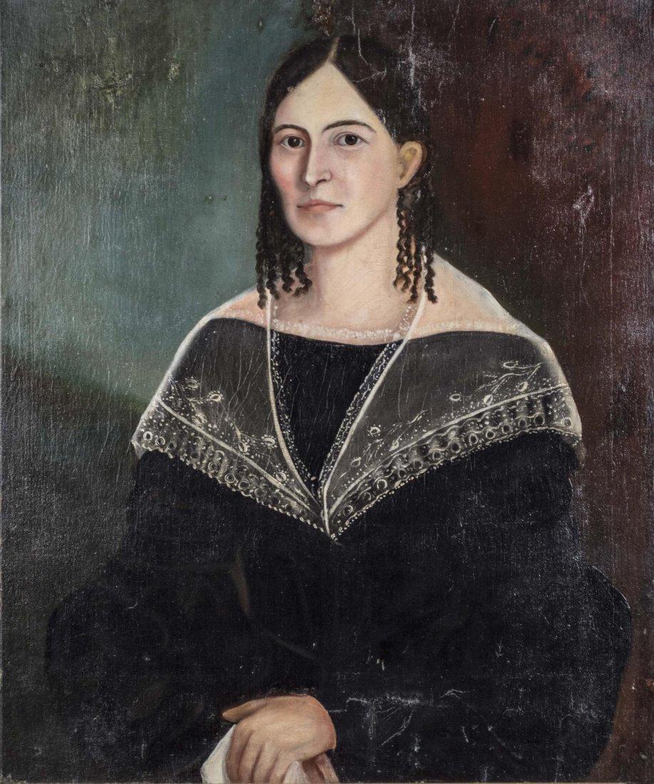 American Folk Art Style Portrait of a Lady