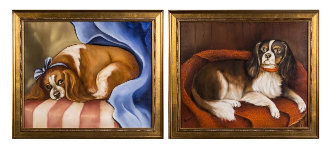 Pair of Contemporary Dog Portraits