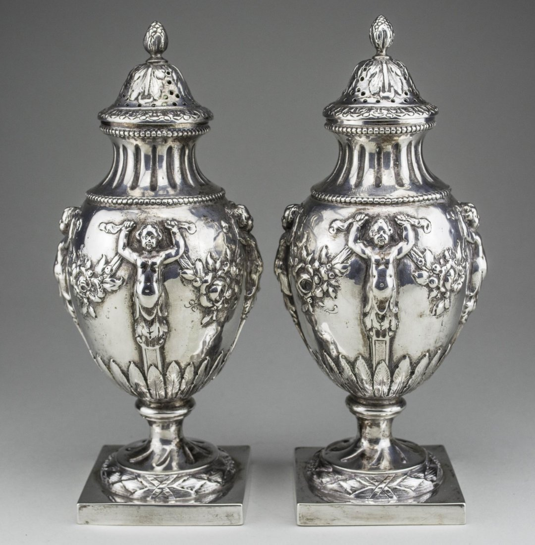 Pair of German Silver Casters