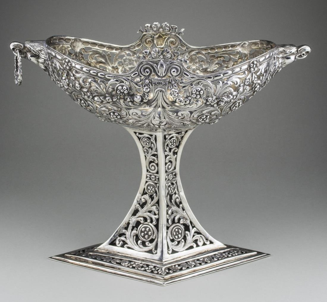 German Silver Pedestal Basket