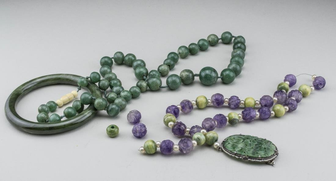 Group of Jade and Amethyst Jewelry