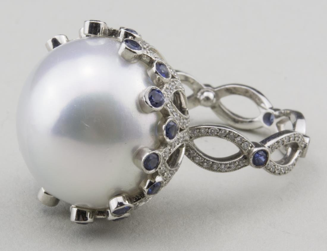 South Sea Pearl, Sapphire and Diamond Ring   *