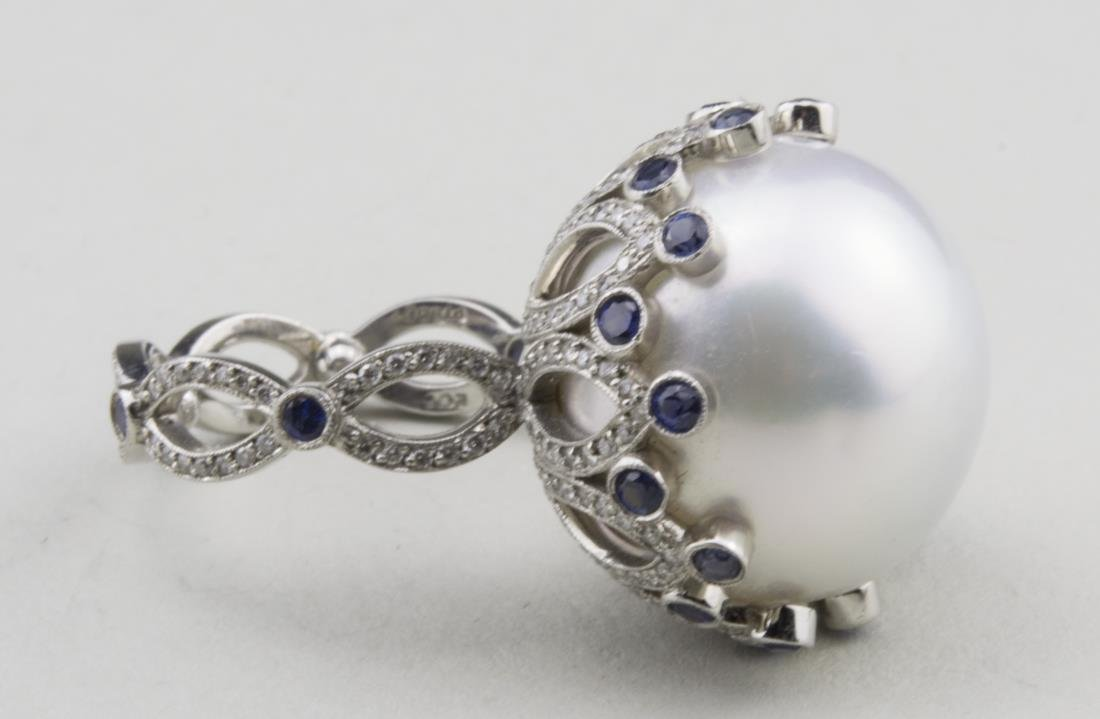South Sea Pearl, Sapphire and Diamond Ring   * - 2