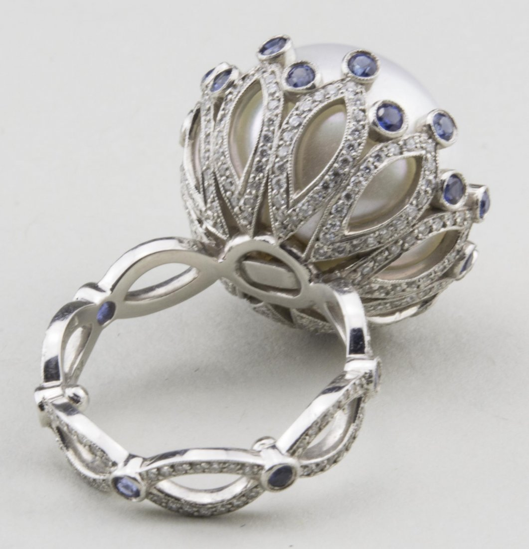 South Sea Pearl, Sapphire and Diamond Ring   * - 3