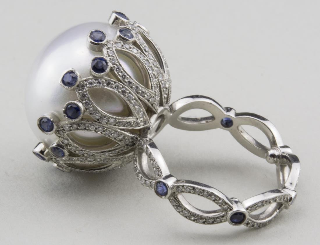 South Sea Pearl, Sapphire and Diamond Ring   * - 4