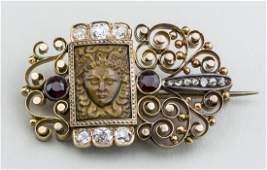 Victorian Gold and Gem Set Brooch