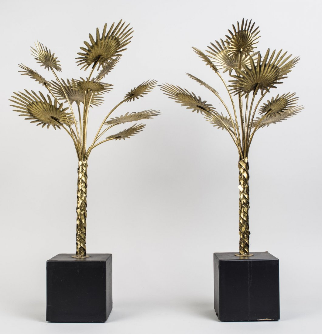 Pair of Mid Century Palm Tree Decorations